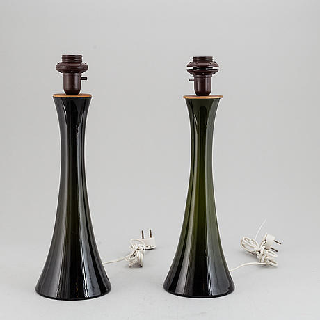 A pair of bergboms glass table lamps, 20th century.