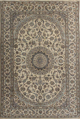An old nain part silk carpet ca 357 x 246 cm.