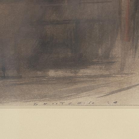 David deutsch, blandteknik på papper, signerad.