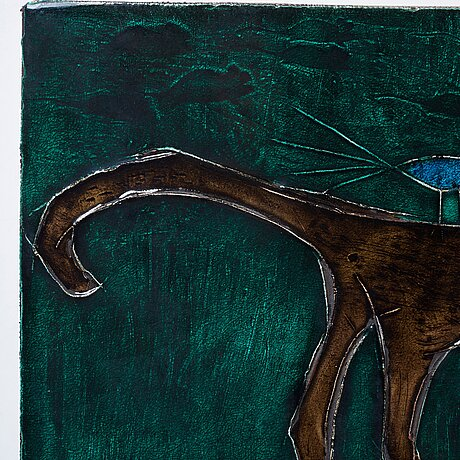 """Rut bryk, a stoneware wall plaque, """"cat"""", finland 1950-60's."""