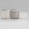 Two silver cigarette cases and a silver box, finland and spain, 20th century.