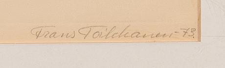 Frans toikkanen, etsaus, signeerattu ja päivätty -73, numeroitu tpl'a 6/50.