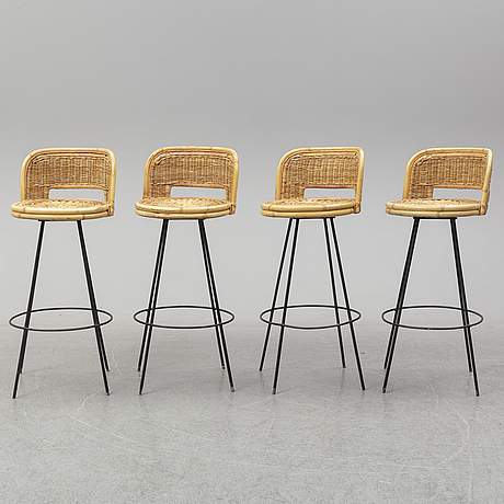 Four bar stools, second half of the 20th century.