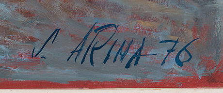 Seppo arina, öljy levylle, signeerattu ja päivätty -76.