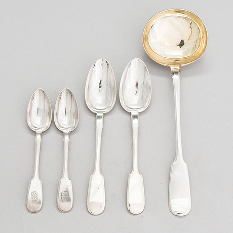 A russian silver soup ladle and two pairs of silver spoons, moscow 1874 and saint petersburg 1868 and 1887.