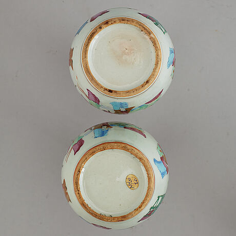 A pair of famille rose vases, and a tea pot, qing dynasty, 19th century and circa 1900.