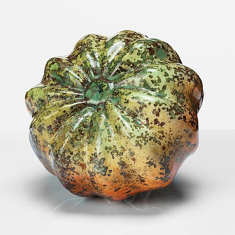 Hans hedberg, a faience sculpture/ vase of a pumpkin, biot, france.