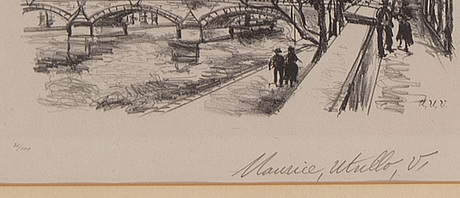 Maurice utrillo, litograph. signed and numbered 36/100.