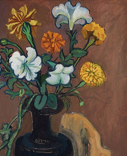 Hilding linnqvist, flowers in a black vase.