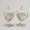 A swedish pair of 18th century silver sugar bowls and covers, mark of berndt johan frodelius, marstrand 1788.