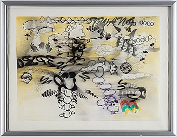Billy Copley, mixed media on paper, 1993, signed on verso.