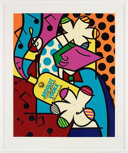 Romero britto, silksreen, signerad med blyerts och numrerad 206/250.