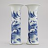 A pair of blue and white trumpet shaped vases, china, 20th century.
