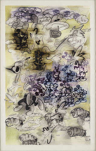 Billy copley, mixed media on paper, verso signed and dated 1994.