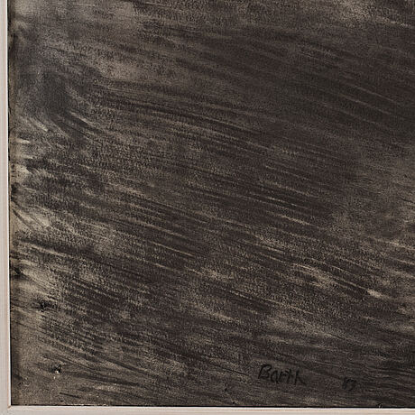 Jack barth, mixed media on paper mounted on canvas, signed barth and dated -83.
