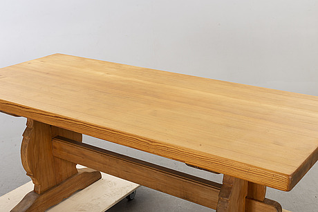 A 20th century pine dining table. from krogenäs, norway.