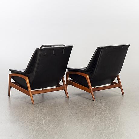 "Folke ohlsson, a pair of 1960's dux ""profil"" loungechairs."