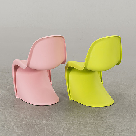 "A pair of verner panton ""panton junior"" vitra children chairs."
