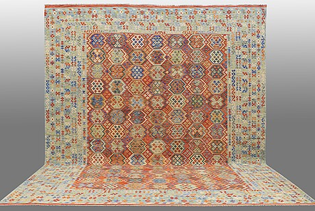 A carpet, killim, ca 500 x 408 cm.