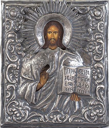 A silver, probably andrey antonovich kovalsky icon. st petersburg 1832.
