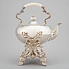 An english 19th century silver warmwater-pot on stand, mark of r&s garrards, london 1843.
