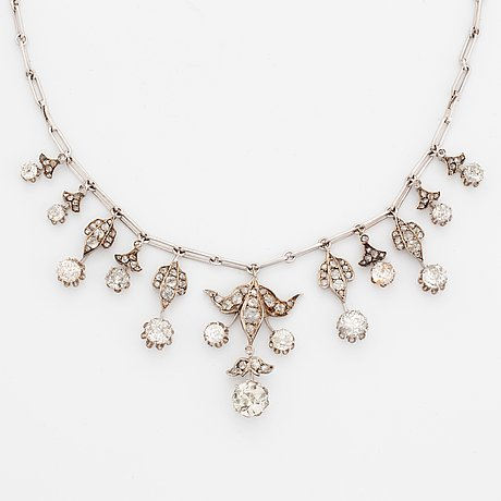 A tiara/necklace combination by hugo strömdahl in 18k white gold set with old- and rose-cut diamonds.