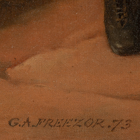 , george augustus freezor, olja på duk, signerad och daterad -73.