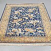 A carpet, an old qum part silk figural, ca 278-283,5 x 168,5-171,5 cm (as well as 1 and 2 cm flat weave at the ends).
