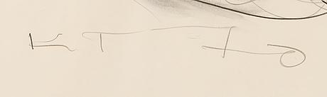 Kain tapper, blandteknik, signerad och daterad -70.