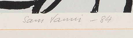 Sam vanni, serigrafia, signeerattu ja päivätty -84, numeroitu 9/100.
