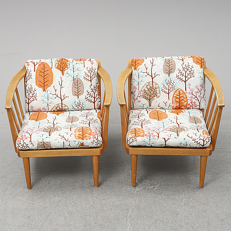 A pair of 'grind' easy chairs by erik wörtz for ikea 1965.