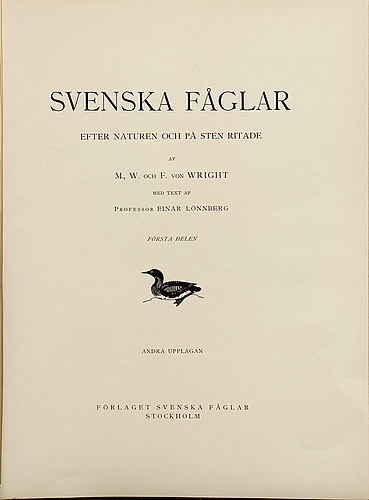 "Litographs, 144 pcs from m and w von wrights ""svenska fåglar"" vol i, a. börtzells, stockholm,"