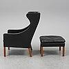 BØrge mogensen, easy chair and foot stool, modell 2204, federica stolefabrik, denmark, second half of the 20th century.