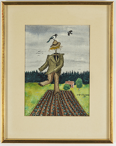 Bengt olov abrahamsson, an oil on canvas and a watercolor, signed and dated -67 and -76.