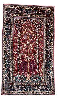 242. Matta, semiantik Isfahan figural part silk, ca 222-227,5 x 128-135,5 cm.