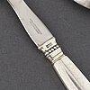 "Johan rohde, a pair of ""dronning/acanthus"" silver sallad cutlery, georg jensen, denmark."