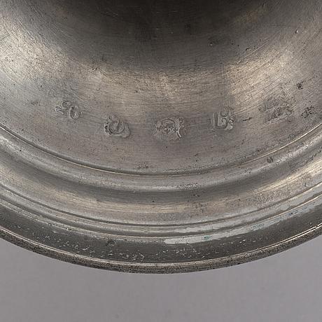 Ljusstakar, ett par, tenn, 1820.