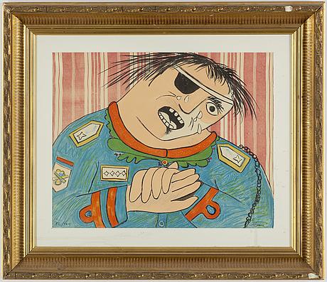 Enrico baj, lithograph in colours, 1965, signed 82/100.