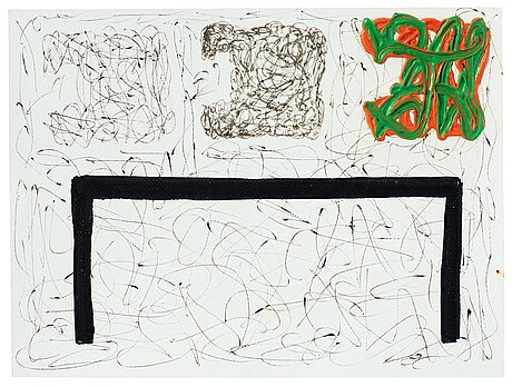Jonathan lasker, oil and ballpoint pen on paper, signed j. lasker and dated 1996 on verso.