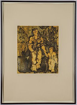 Sandro Chia, etching in colours and aquatint, 1985, 36/50.