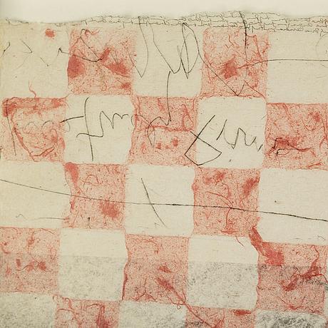Lee jaffe, blandteknik på papper, signerat med blyerts och otydligt daterat.
