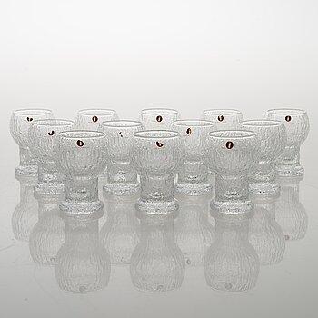 TIMO SARPANEVA, set of 12 'Naukku' drinking glasses from Kekkerit (Party) series for Iittala.