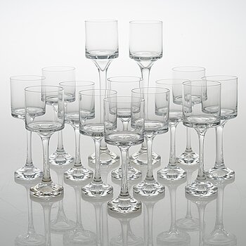 TIMO SARPANEVA, set of 12+2 drinking glasses for Iittala 1979.