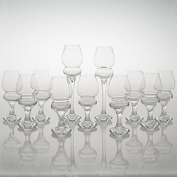 TIMO SARPANEVA, set of 9+2 'Lokkiluoto' (Seagull rock) drinking glasses for Iittala.
