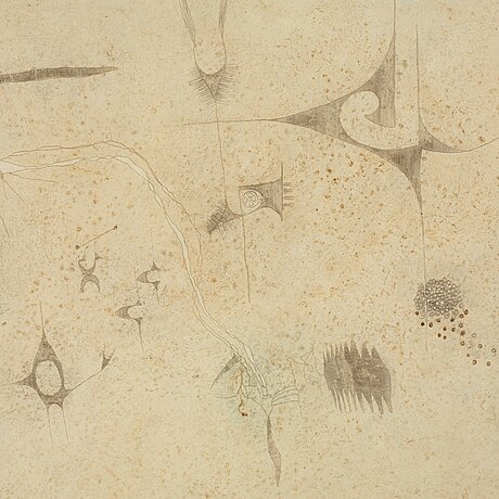 Thea ekstrÖm, mixed media on paper laid down on panel, signed and dated 30 iii 63.