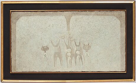 Thea ekstrÖm, mixed media on paper laid down on panel, signed and dated 9 vi 65.