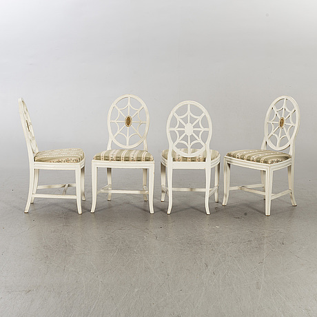 Four first half of the 20th century gustavian style chairs.
