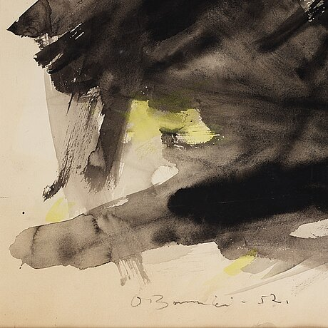 Olle bonniÉr, mixed media on paper, signed and dated -52.