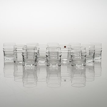 TIMO SARPANEVA, set of 12 'Pisararengas' (Expanding rings) 2054  shot glasses for Iittala.