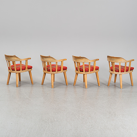 A set of 4 pine chairs, norway second half of the 20th century.